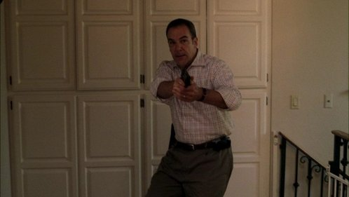 In 1x04 Plain Sight Gideon tries to sneak up on the unsub but makes a noise when: