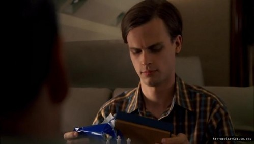 In 1x04 Plain Sight Gideon gives Reid a birthday present, Reid opens it up and says: