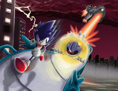WHERE did sonic have first battle with metal sonic