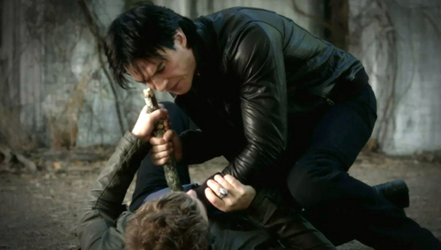 How many times does Damon stab Stefan in this scene from The New Deal?
