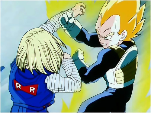 What name does 18 repeat to Vegeta when they are fighting?