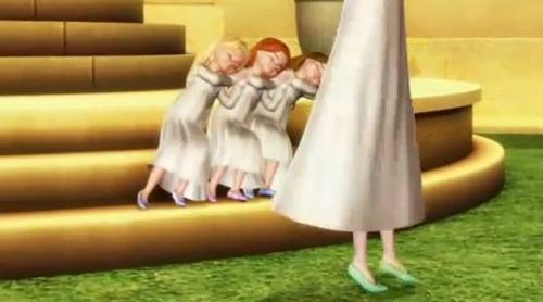 After the triplets fall asleep in their first visit to the golden pavilion, Genevieve dances with who?