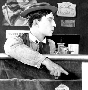 What movie did silent film nyota Buster Keaton break his neck during a stunt, and didn't learn about it until 5 years later?