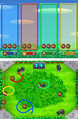 This minigame appears in Mario Party DS and is very similar to the Pokémon Ranger games, where players capture Pokémon by making circles around them