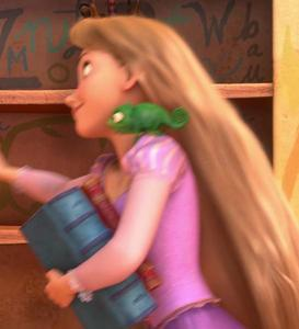 What color is the plate in Rapunzel's bookshelf?