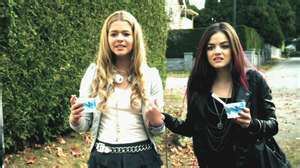 Who were Alison and Aria trying to get away from when they saw Byron with his mistress?