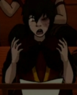 in the episode (the ember island players) when was zuko shocked and gave this look