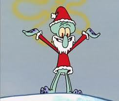 Who is Squidward dressed up as in this picture?