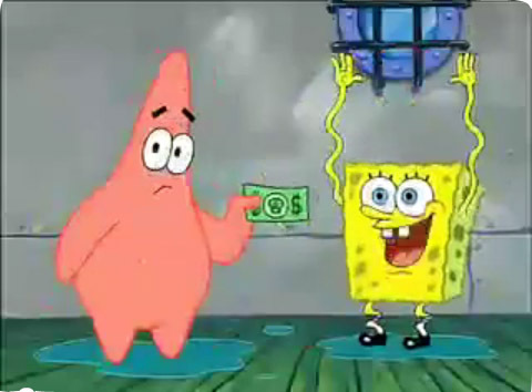 """In """"Pranks a Lot"""", what happens to the dollar that Patrick is holding in this picture? (Note: after this scene.)"""