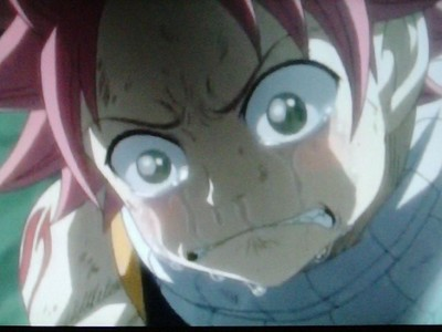 why is natsu sobbing in this picture?