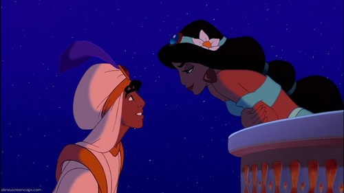 How many times did Aladdin and Jasmine kiss/almost kiss?