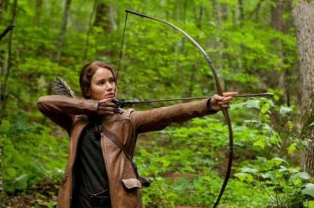 In what chapter in the Hunger Games does Katniss get a bow and some arrows?