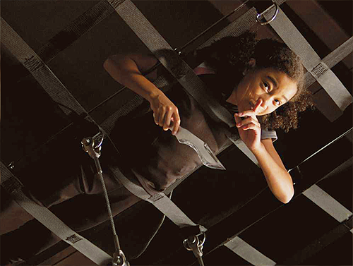 In the movie, what colour was Rue's interview dress?