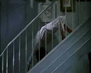 What was the name of the crazy walk Reagan did down the stairs? During her demonic possession.