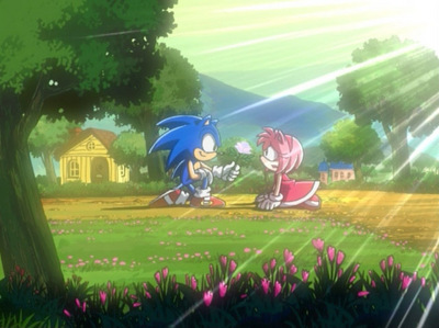 When the boy give a rose to girl,he express he's feeling's to her....Did Sonic express he's feeling's when he give the rose to Amy in episode 52 of Sonic X?