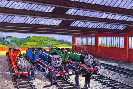 In what book did Gordon, James, and Henry go on strike?