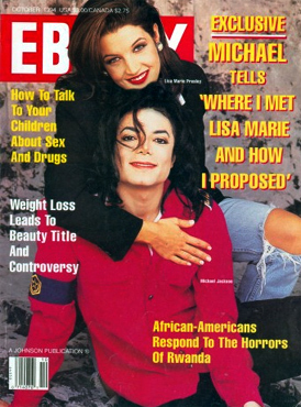 "What año did Michael and new wife, Lisa Marie Presley- Jackson, apppear on the cover of ""Ebony"" magazine"