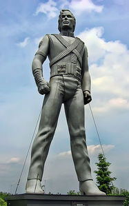 "To promote the ""History"" album, Michael paid a large to sum of money for a 20-foot statue of himself to sail across the five continents by way of a  tugboat"