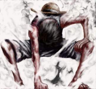 What did Luffy do to finish Blueno?