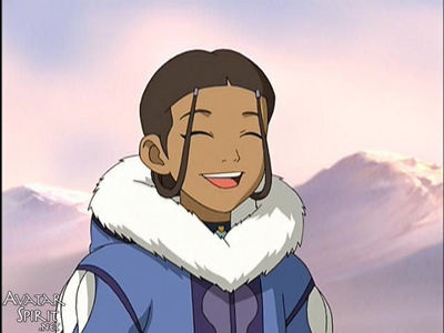 which is the first episode, that katara appears without her fur coat on?