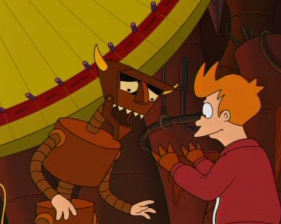 "What was the first thing Fry did with Robot Devil's hands in ""The Devils Hands are Idle Playthings"""