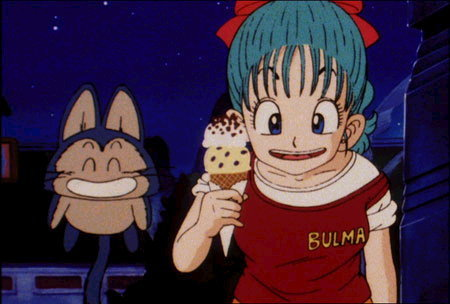 How many time Bulma had a red bow in her hair during the series?