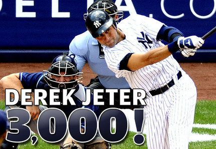 Which pitcher was allowed Derek Jeter's 3,000th hit?