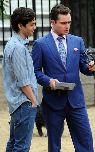 "Ed Westwick, Chace Crawford and Penn Badgley on the set of ""Gossip Girl"" (August 16)."