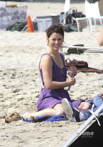 Jessica Stroup on set 90210 in Venice Beach, August 17