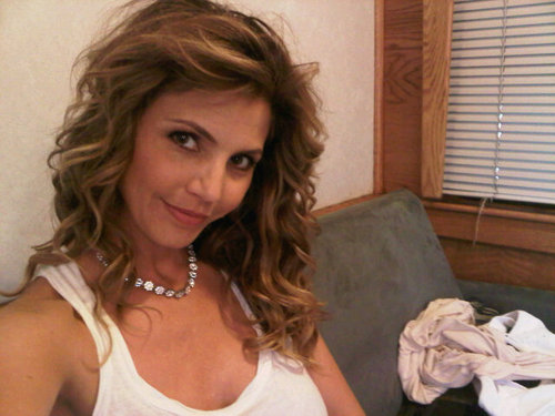 "Charisma Carpenter on set of ""Supernatural"", while waiting for filming"