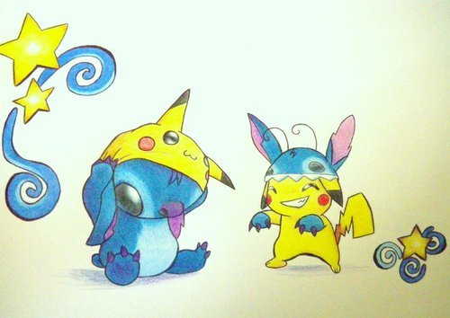 pikachu and Stitch