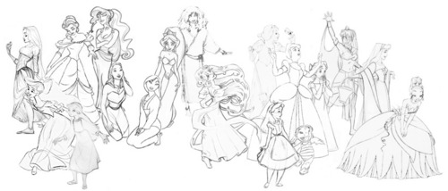 ディズニー Princesses and non-Princesses Concept Art