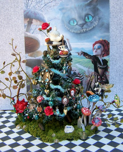 dollhouse miniature alice in wonderland-themed tree I made
