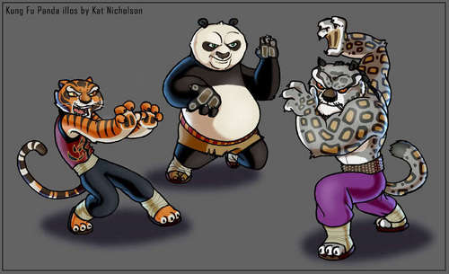 Po and tigre, tigress vs Tai Lung