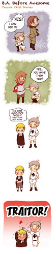 Prussia's chibi diaries: Prussia has no pants, but little Germany does