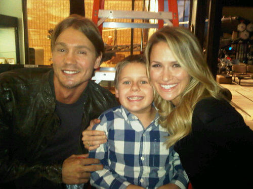 Shantel, Chad, and Jackson on set