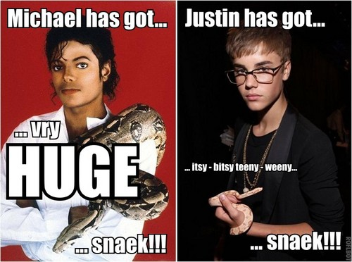 Michael Jackson macro - MJ's and Justin Bieber's snakes!