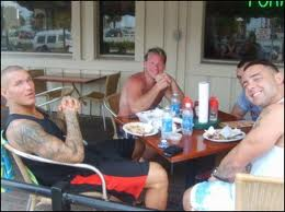 Santino,Randy,Vladimir and Chris Jericho relaxing