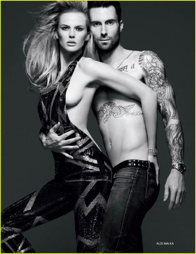 Adam Levine & Anne V: Nude on 'Vogue Russia' Cover