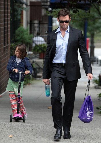 Hugh Jackman Walks to School
