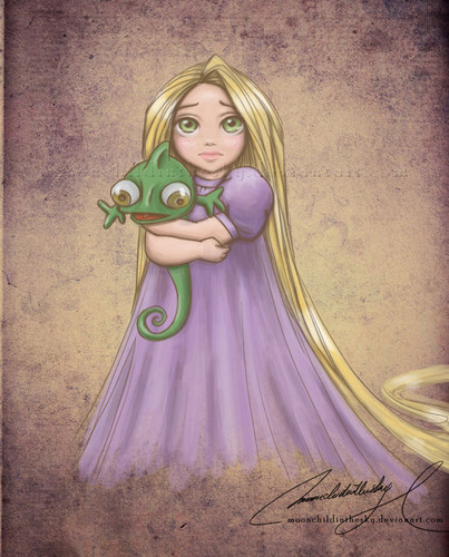 Baby Rapunzel and peluche Pascal