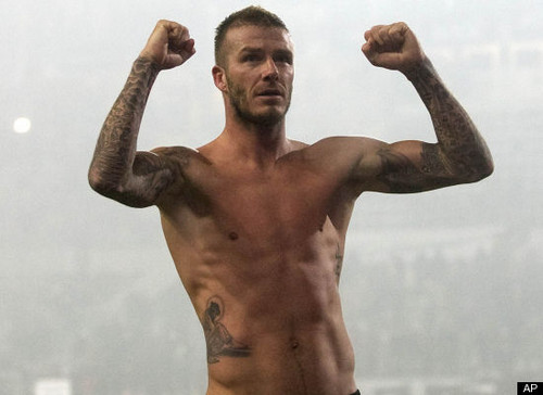 David Beckham shirtless <3