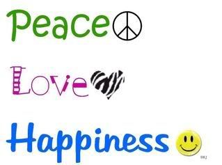 peace l'amour and happiness