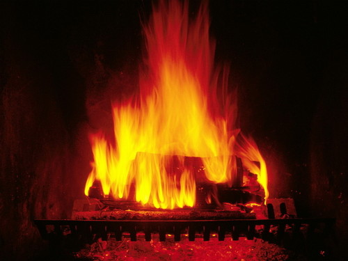 crackling fireplace