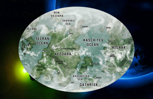 Map of the planet's surface Tellar Prime. [ «The United Federation of Planets» ]