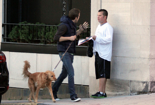 Ryan Reynolds Takes His Dog For A Walk In Boston