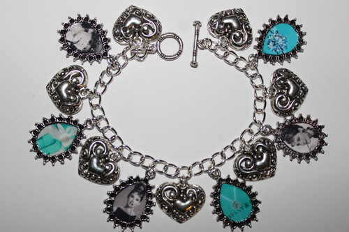 Audrey Hepburn agrifoglio Golightly Breakfast at Tiffany's Charm Bracelet
