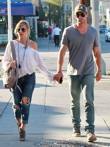 Chris Hemsworth And Elsa Pataky Spotted At French Cafe In Hollywood