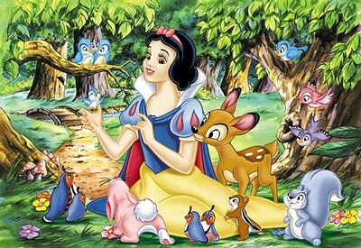 Snow white with binatang