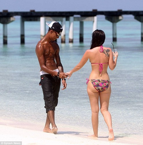 Tulisa and Fazer on a New Year holiday in the Maldives